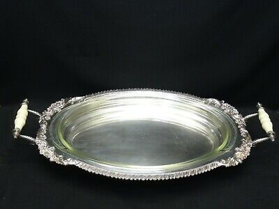 MASSIVE ORNATE FOOTED SILVER PLATE CELLULOID HANDLE PLATTER with GLASS INSERT