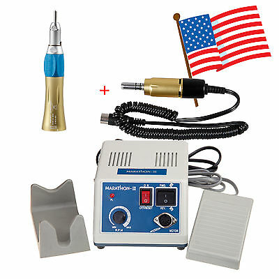 USA Dental Lab Marathon Micromotor Electric Motor with Straight Nose Cone Gold