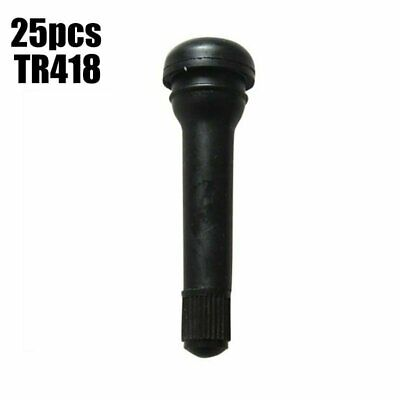 "25pcs TR418 Black Rubber Standard 2"" Snap-In Tubeless Tire Valve Stems Length: 2"