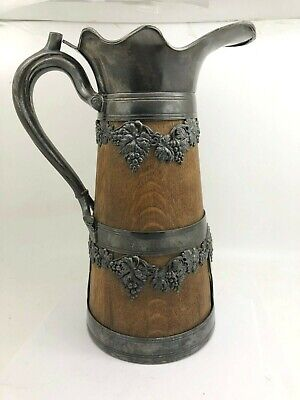 Vintage Silverplate & Wood Water Pitcher With Grapes Design