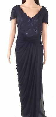 Adrianna Papell Women's Dress Blue US 20W Plus Gown Sequin Gathered $259 #381