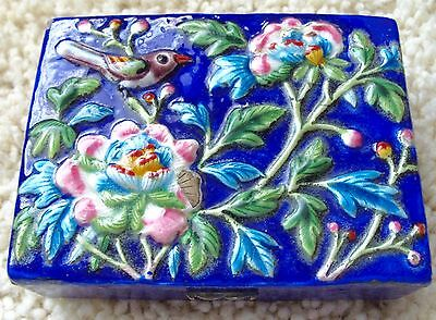 Antique Chinese Cobalt Blue Enamel Repousse Humidor Box Bird And Peonies