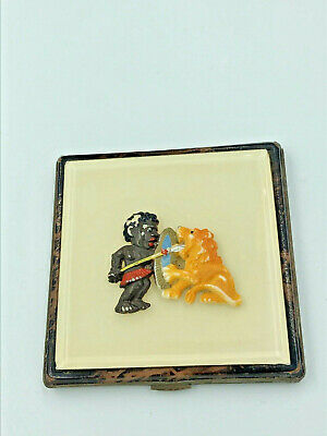Vintage Square Powder Compact With Plastic Figure Of Warrior And Lion