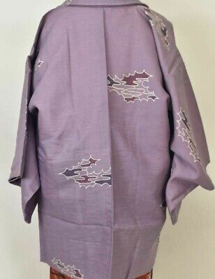 Vintage Japanese Ladies' Mauve Slub 'Purple Waves' Kimono Haori Jacket 10-14