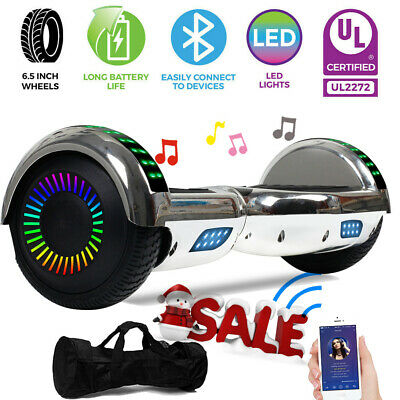 Bluetooth Hoverboard LED Electric Self Balancing Scooter Chrismas W/ Bag Silver