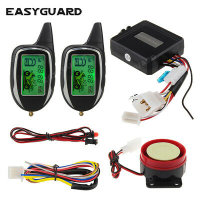 EASYGUARD 2 Way LCD pager motorcycle alarm remote start motion sensor shock warn