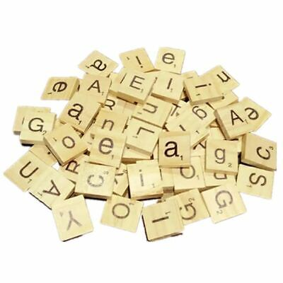 100 Wooden Alphabet Scrabble Tiles Black Letters & Numbers For Crafts Wood-T4R4