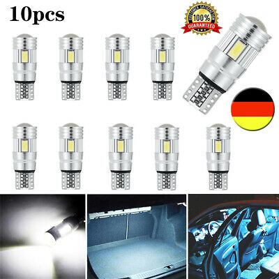 10x T10 LED 6 SMD Auto CANBUS Innenraum Beleuchtung Standlicht Birne 6000K DHL