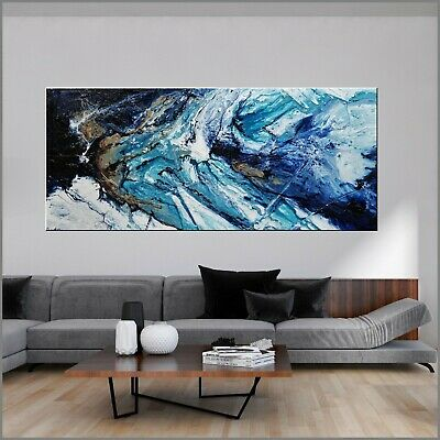 Huge Modern Navy Blue Abstract Art Painting Textured Canvas 240cm x 100cm Franko