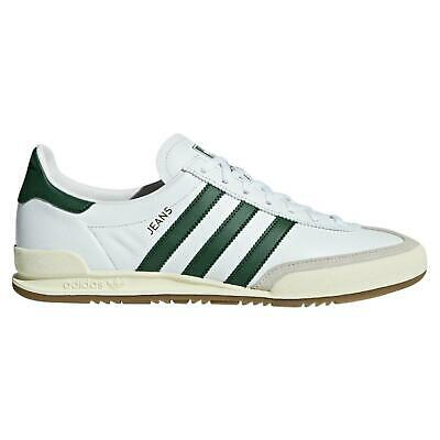 adidas ORIGINALS JEANS TRAINERS WHITE SHOES 3 STRIPES MEN'S WHITE GREEN NEW SALE