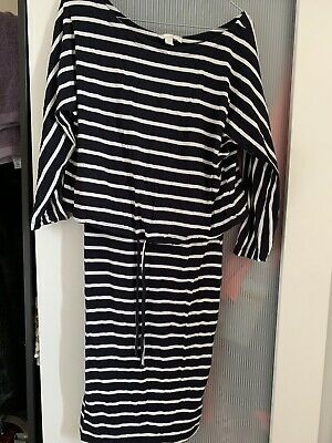 H&M Nursing Breastfeeding Dress Size Medium Navy White