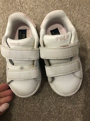 Girls Toddler Polo Sneakers Ralph Lauren White Size US 6