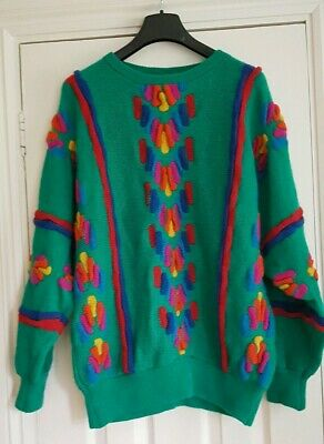 vintage 80s tulchan batwing jumper green multi one size