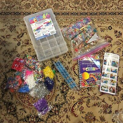 RAINBOW LOOM 14 Unopened Bags Elastic Bands Instruction Book Storage Case + More