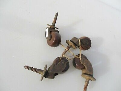 Antique Furniture Castors Trolley Wheels Chair Vintage Old Iron Ceramic Brass x4