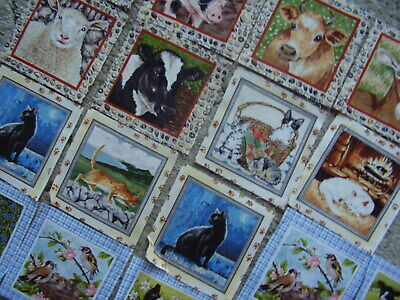 """Fabric Squares for Patchwork/Quilting  approx 4"""" sq   18 x Cats and Farm Animals"""