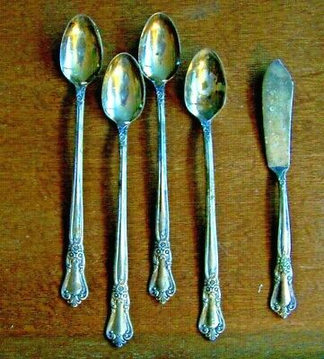 Wm. Rogers Oneida Ltd-5 Piece Silverplate -Valley Rose Pattern-Ice Teaspoons,+
