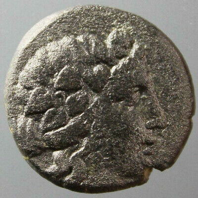 Dionysos, ivy wreath, Goat, AE 19mm, Thessalonica, Macedonia, c. 187-131 BC