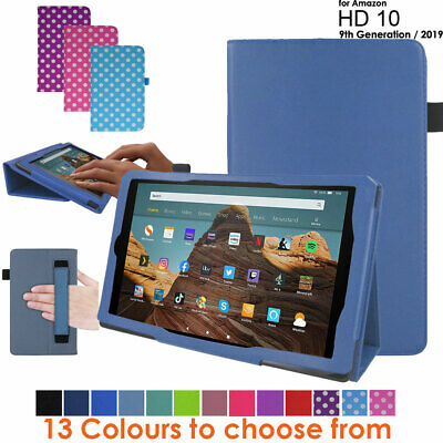 for Amazon Fire HD 10 2019 9th Generation Leather Flip Case Stand Cover