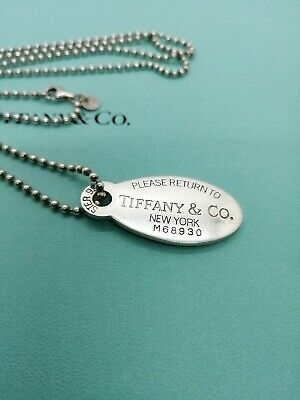 Authentic Tiffany & Co Return to Oval Tag Ball Chain Necklace 34inch