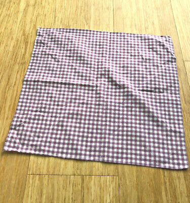 Vintage Mauve White Check Men's Women's Child's Cotton Hanky Handkerchief 15""