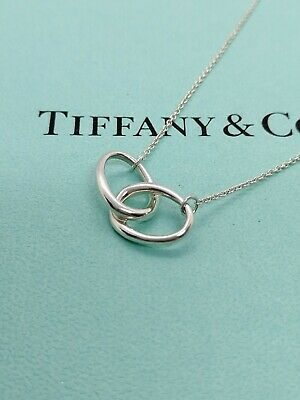 Authentic Tiffany & Co. Double Loop Pendant Necklace Sterling Silver 16inch