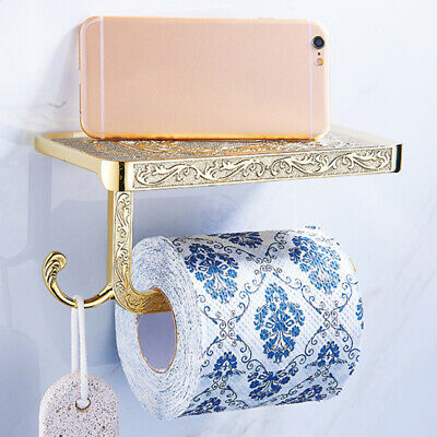 Antique Carved Wall Mounted Bathroom Toilet Paper Holder Rack With Phone Shelf