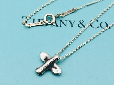 Authentic Tiffany & Co. Necklace Dove Peace Bird Cross Sterling Silver 16'' N13