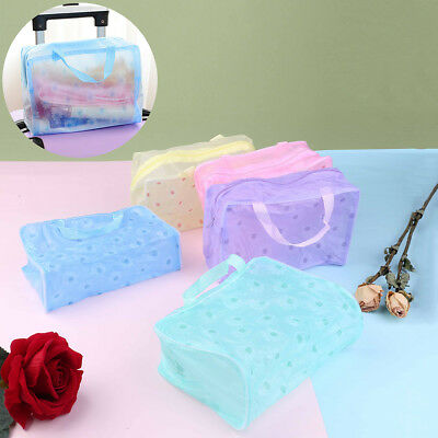 Clear Transparent Plastic PVC Travel Makeup Bags Cosmetic Toiletry Zip BagFA F_X