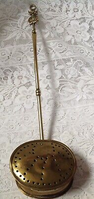 Victorian 19th Century Brass, Hinged Lid Chestnut Roaster / Warmer. Pixie Handle