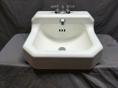 Antique Cast Iron White Porcelain Wall Mounted Bath SInk Vtg Standard 358-19E
