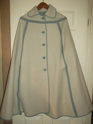 VINTAGE 60`s WETHERALL REVERSIBLE CAPE DUCK EGG BLUE Ivory Wool 8 10 12 14 VGC!