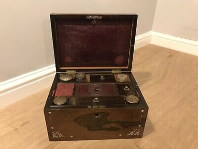 Antique Victorian Mahogany Inlaid Vanity Fitted Beauty Box - Hidden Drawer