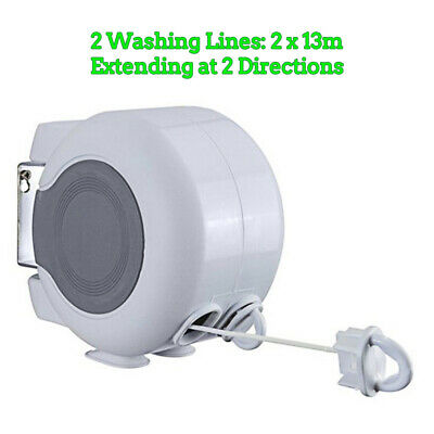 Retractable 2 Directions Clothes Washing Line Bedsheet Dry Clothesline 2x13m