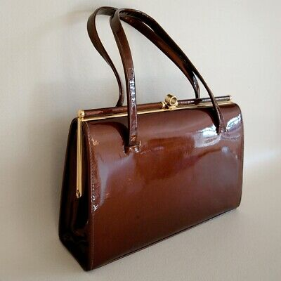 FAB!!! Vintage 60s MacLaren Patent Leather Suede Lined Kelly Handbag Bag - 270