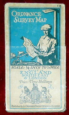 """Ordnance Survey 1/4"""" Linen Backed Map Of England South East & London - 1925"""
