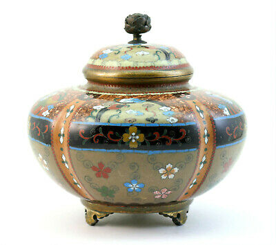 c1890, KYOTO SCHOOL, ANTIQUE MEIJI JAPANESE CLOISONNE LOBED KORO, LIDDED JAR