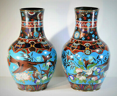 c1870, LARGE PAIR ANTIQUE MEIJI PERIOD JAPANESE CLOISONNE VASES, EAGLE & SPARROW