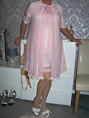 My Beautiful Vintage Ultra Femme Frilly Double Sheer Pink Nylon Gown&Robe Set Lg