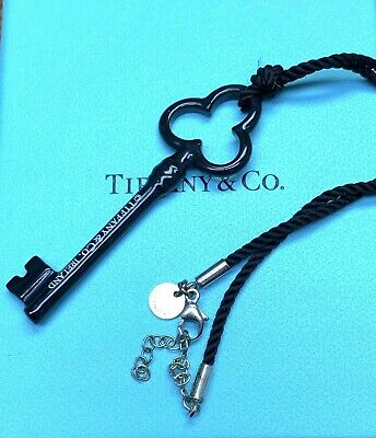 Excellent Rare Authentic Tiffany & Co. Black Bone Trefoil Key Necklace T2
