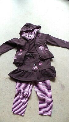 Cute embroidered hoodie, skirt and stripey leggings set age 4 yrs