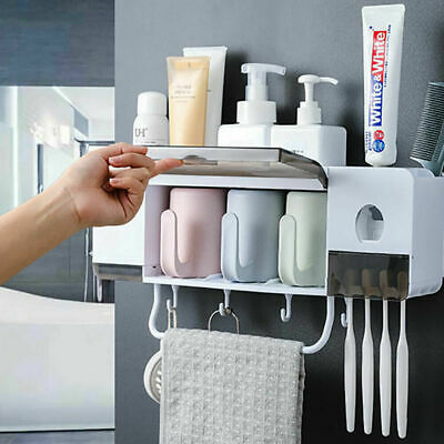 Super Bathroom Accessories Set Toothbrush Holder Shower Shelf Storage L5Z9V