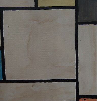 Fine Abstract expressionism Mondrian, original oil painting Signed
