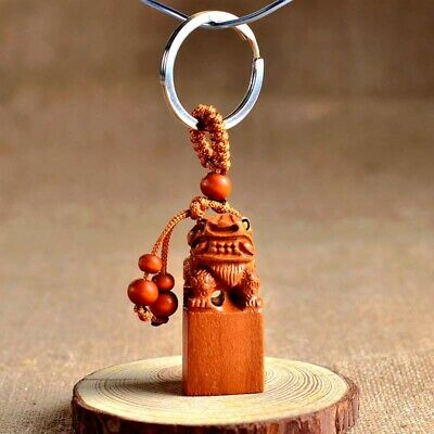 Wood Carving Chinese Feng Shui Geomancy Wealth Pixiu Seal Statue Key Chain Ring
