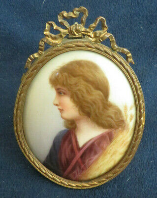 Antique Painted Portrait Miniature on Porcelain, French Bow Top & Easel Frame
