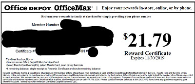 Office Depot Rewards Gift Card Value $21.79 FREE SHIPPING