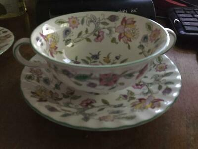 6 MINTON HADDON HALL Cream Soup & Underplates Green Excellent Preowned Condition