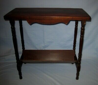 VTG/Antique Dark Wood/Wooden Farm House Table W/Shelf Magazine Rack!