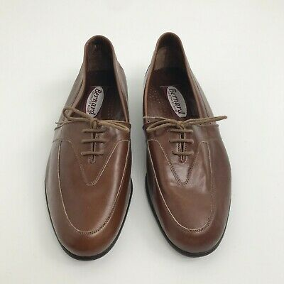 Bernard Handcrafted Shoes Size 6.5 Men's Brown All Leather Derby Lace Up Shoes