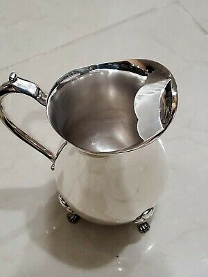 Vintage Leonard Silver Plate Pitcher Moustache Ice Guard 4 Toe Footed.